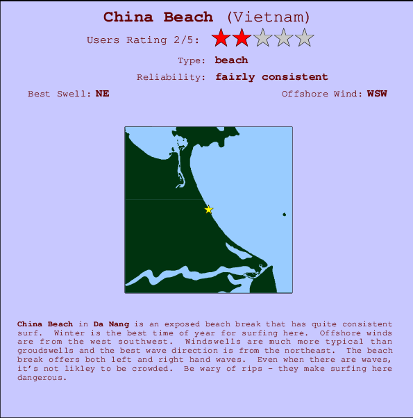 China Beach Carte et Info des Spots