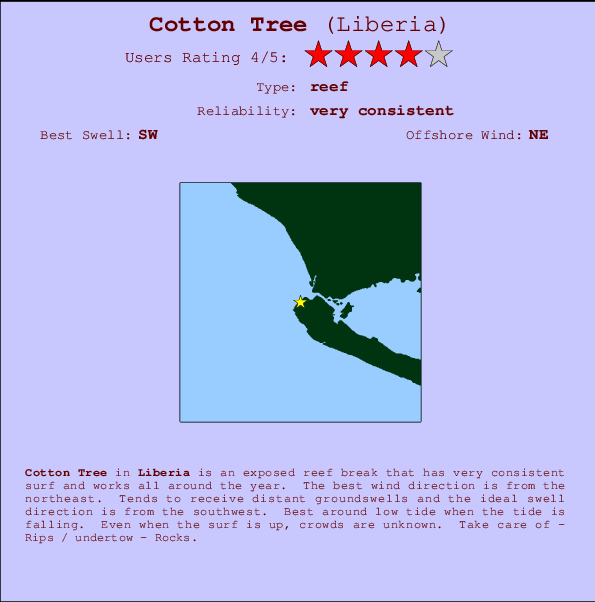 Cotton Tree Carte et Info des Spots