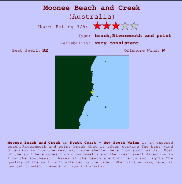 Moonee Beach and Creek Carte et Info des Spots