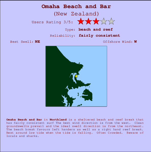 Omaha Beach and Bar Prévisions de Surf et Surf Report (Northland ...