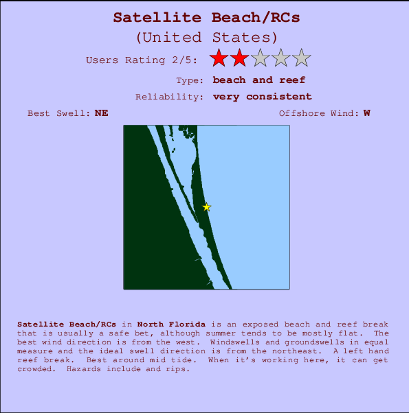 Satellite Beach/RCs Carte et Info des Spots