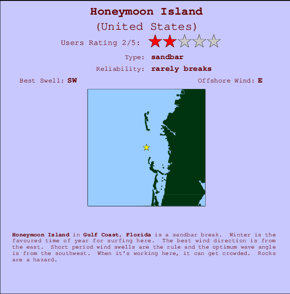 Honeymoon Island Carte et Info des Spots